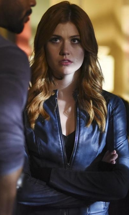 Katherine McNamara with Diesel L-Lory Leather Jacket in Shadowhunters