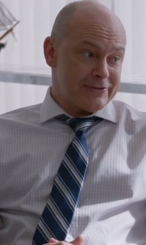 Rob Corddry with Ike Behar Striped Silk Tie in Ballers