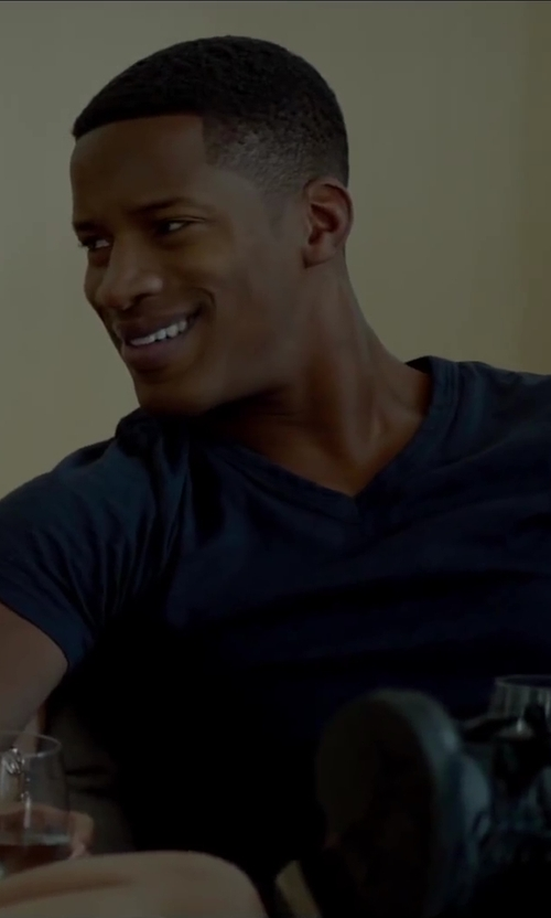 Nate Parker with Vince V Neck Tee in Beyond the Lights