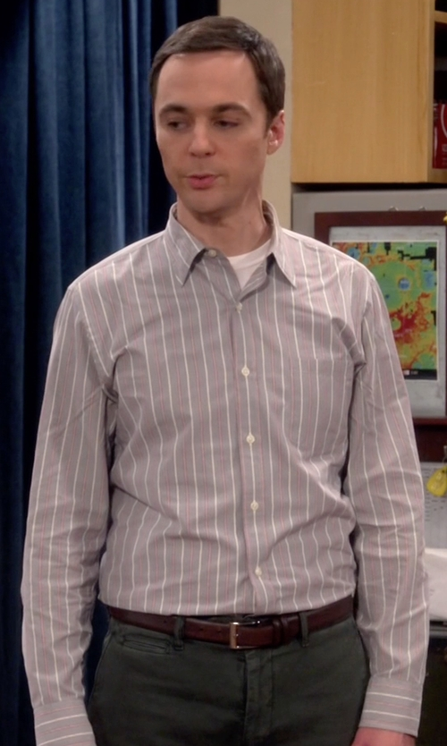 Jim Parsons with Cole Haan Colebrook Leather Belt in The Big Bang Theory