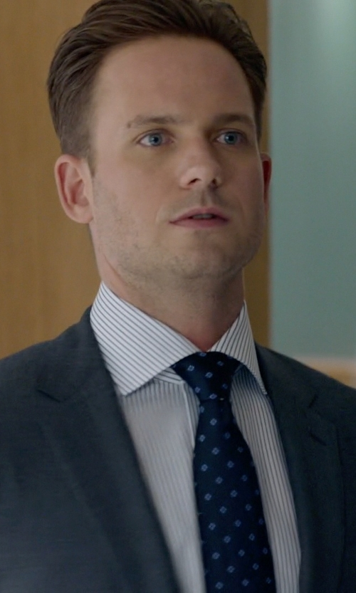 Patrick J. Adams with Isaia Navy Blue Diamonds Tie in Suits