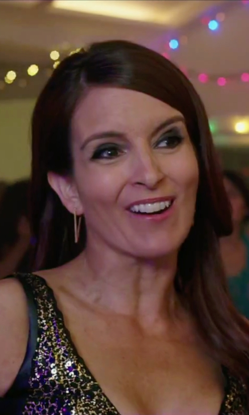Tina Fey with Macy's Triangle Hoop Earrings in Sisters
