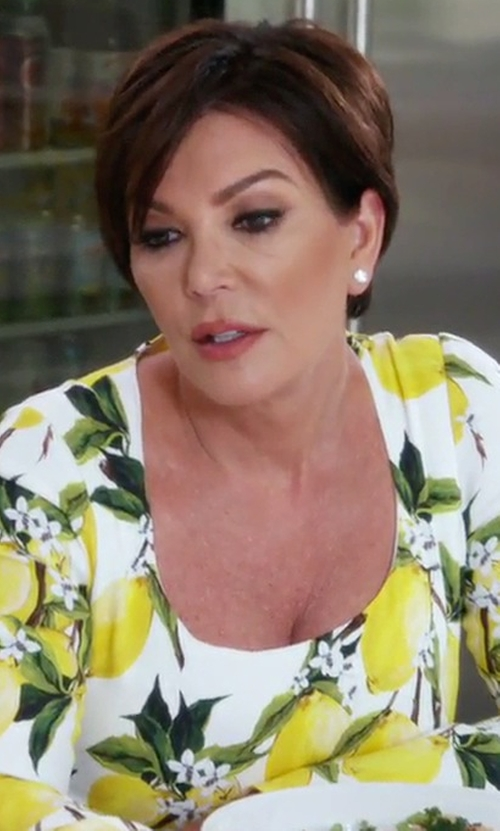 Kris Jenner with Dolce & Gabbana Lemon Print Dress in Keeping Up With The Kardashians