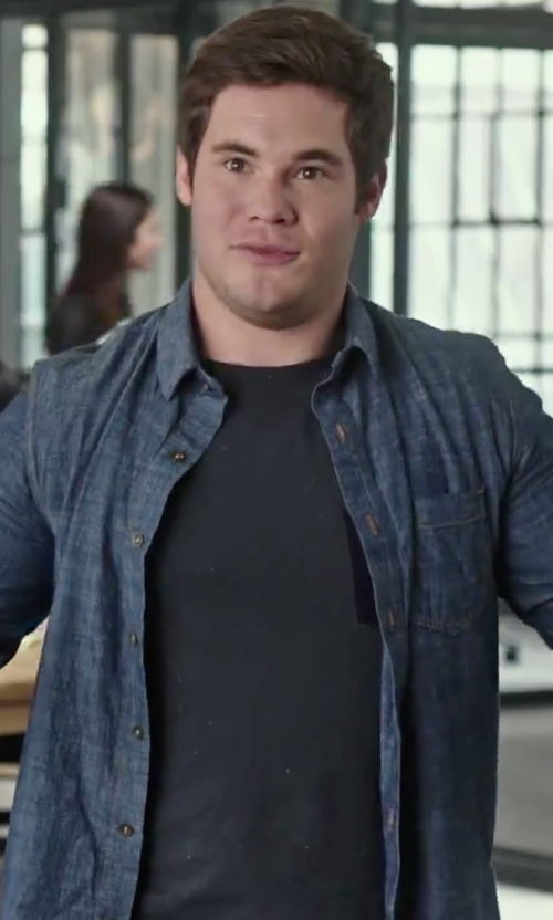 Adam DeVine with Eleventy  Fleck Denim Slim Fit Button Down Shirt in The Intern