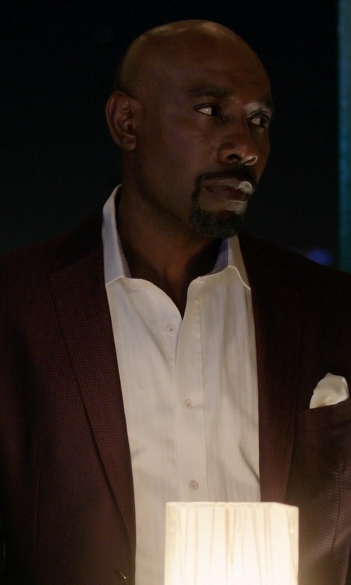 Morris Chestnut with Pal Zileri Cerimonia Stripe Suit in Rosewood