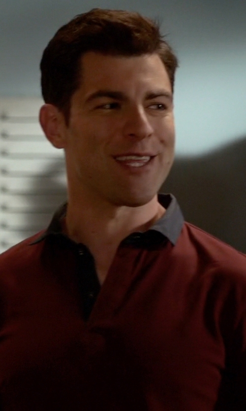 Max Greenfield with Armani Collezioni Chambray-Collar Short-Sleeve Polo Shirt in New Girl