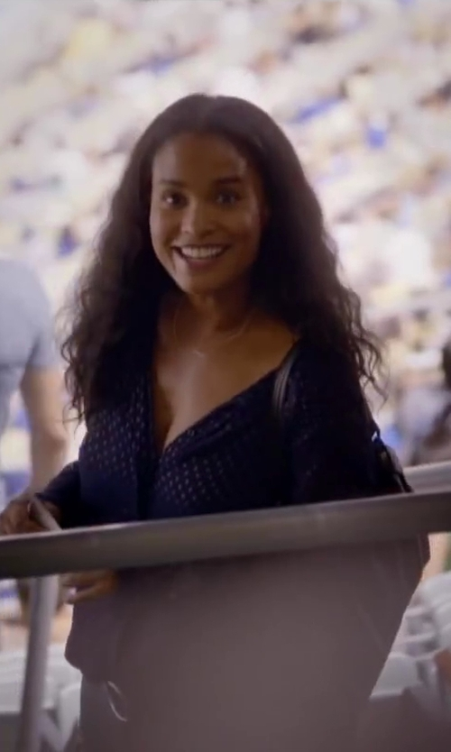 Joy Bryant with J. CREW SILK DASH-DOT BLOUSE in About Last Night