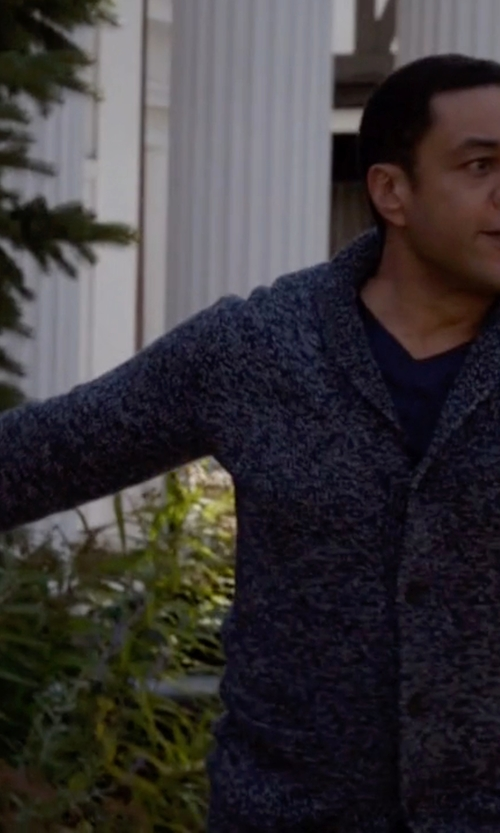 Harry Lennix with Neiman Marcus Cable-Knit Cashmere Cardigan in The Blacklist