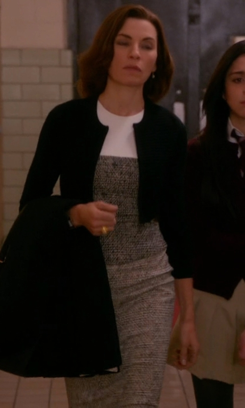 Julianna Margulies with Narciso Rodriguez Sleeveless Peplum Dress in The Good Wife