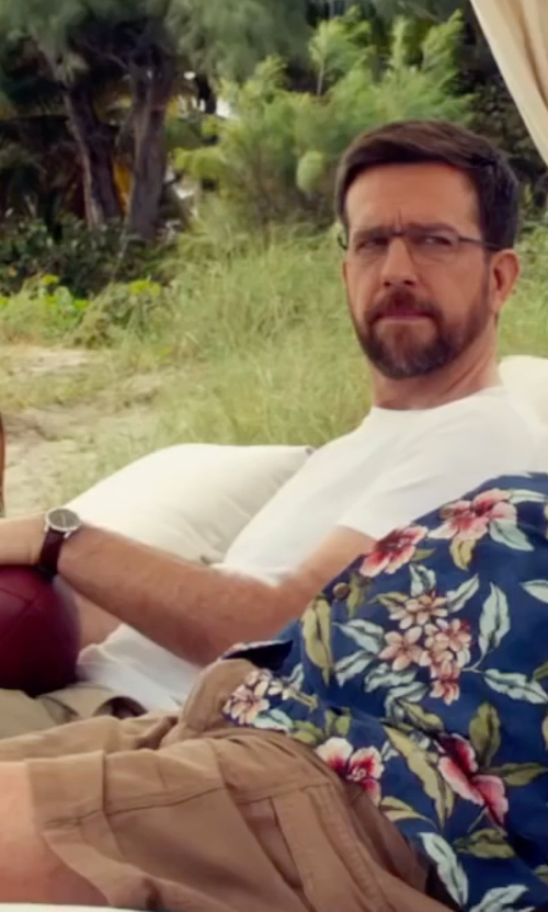 Ed Helms with Hamilton Khaki Field Leather Strap Watch in Bastards