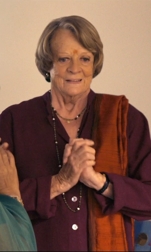 Maggie Smith with Alexis Bittar Miss Havisham Onyx Beaded Necklace in The Second Best Exotic Marigold Hotel