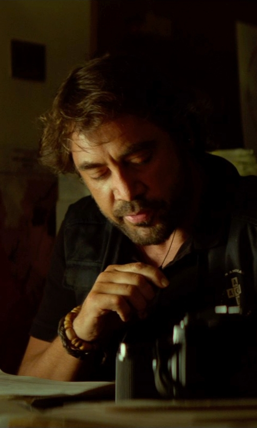 Javier Bardem with Domo Beads Wood Beaded Retractable Bracelet in The Gunman