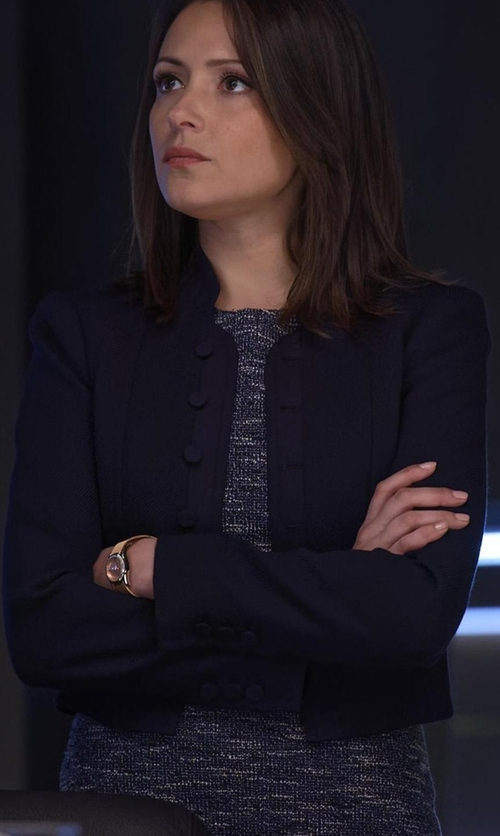 Italia Ricci with Lafayette 148 New York Kadian Loop-Stitch Cropped Jacket in Designated Survivor