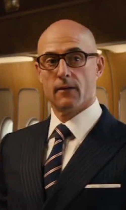 Mark Strong with Kingsman + Cutler And Gross Square-Frame Tortoiseshell Acetate Optical Glasses in Kingsman: The Golden Circle