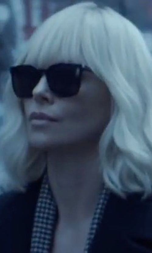 Charlize Theron with Saint Laurent SL 138 Slim Sunglasses in Atomic Blonde