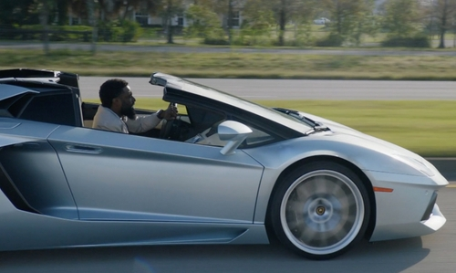 John David Washington with Ferrari 2010 458 Italia Coupe in Ballers