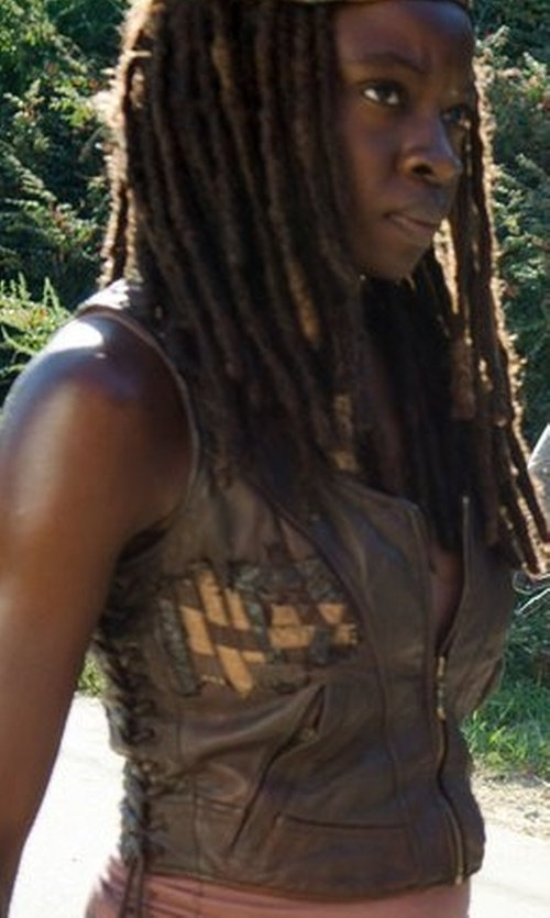Danai Gurira with Ultimate Leather Apparel Women's Short Zipper Motorcycle Vest in The Walking Dead