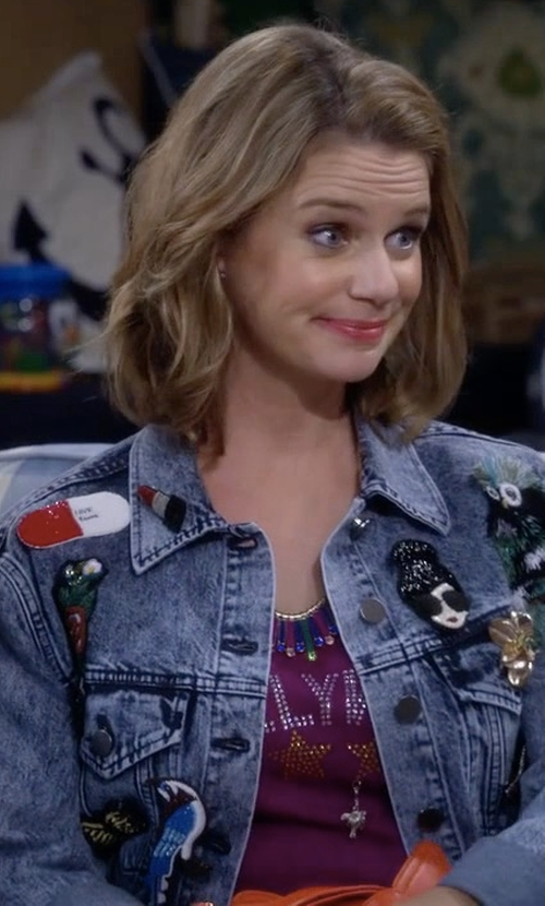 Andrea Barber with Alice + Olivia Chloe Embellished Denim Jacket in Fuller House