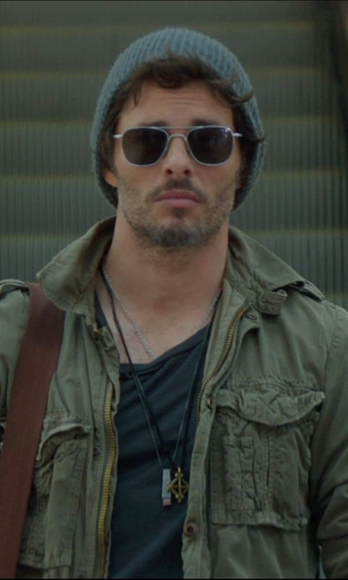 James Marsden with Aspesi Chest Pocket Military Jacket in The D Train