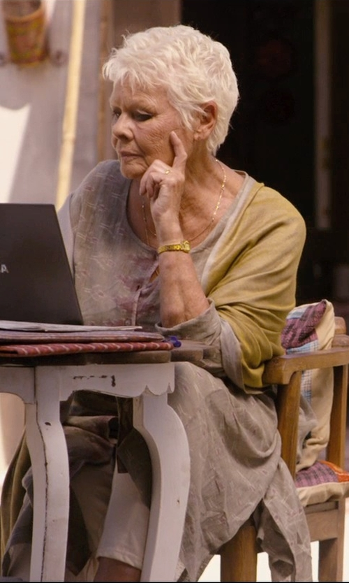 Judi Dench with Exotic India Mineral-Green Kashmiri Shawl Scarf in The Second Best Exotic Marigold Hotel