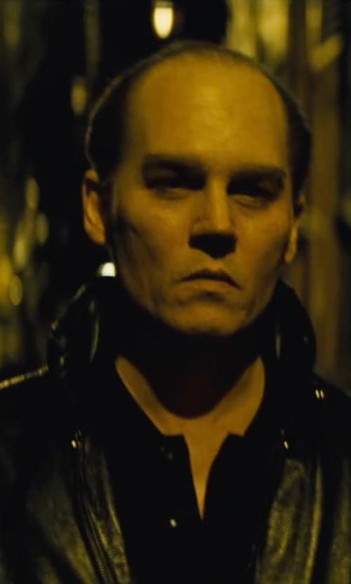 Johnny Depp with Boss Orange Jarroll Black Leather Biker Jacket in Black Mass