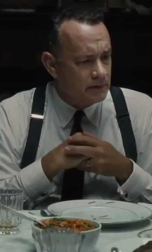 Tom Hanks with Brook Brothers Solid Color Suspenders in Bridge of Spies