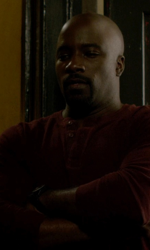 Mike Colter with Buffalo David Bitton Long Sleeve Henley Tee in Jessica Jones