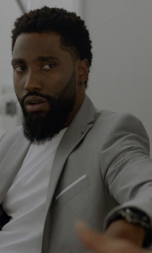 John David Washington with Zara Gray Light Grey Blazer with Pinned Foldover Flap in Ballers