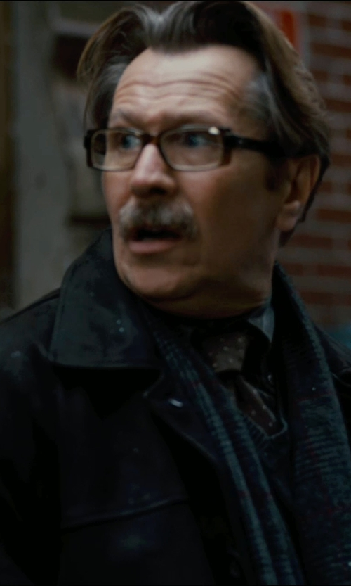Gary Oldman with Runello Cucinelli Checked Scarf in The Dark Knight Rises