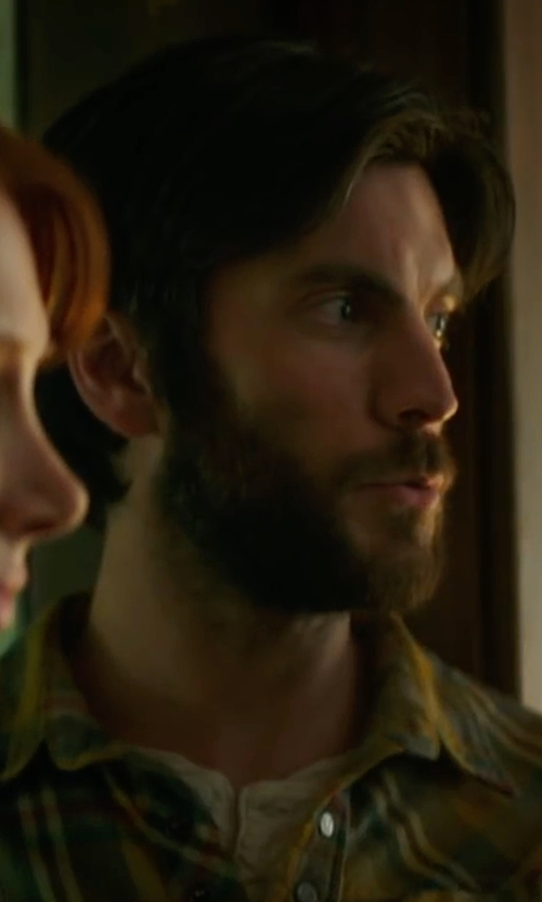 Wes Bentley with Peter Millar Plaid Linen Sport Shirt in Pete's Dragon