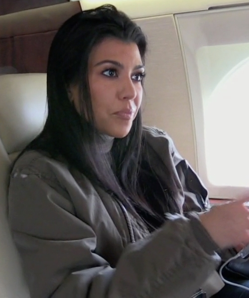 Kourtney Kardashian with Topshop MA1 Bomber Jacket in Keeping Up With The Kardashians