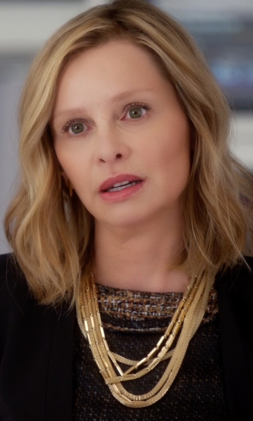 Calista Flockhart with Eddie Borgo Peaked Chain Necklace in Supergirl