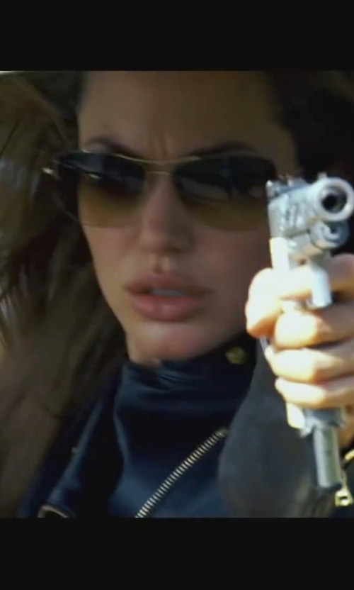 Angelina Jolie with Oliver Peoples Strummer Gold Sunglasses in Wanted
