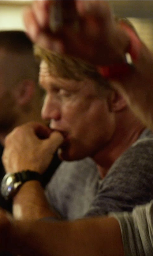 Dolph Lundgren with T by Alexander Wang Long Sleeve Heathered Linen T-Shirt in The Expendables 3