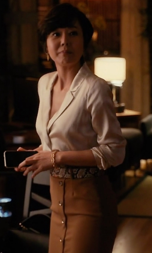Yunjin Kim with White House Black Market Button-Front Pencil Skirt in Mistresses