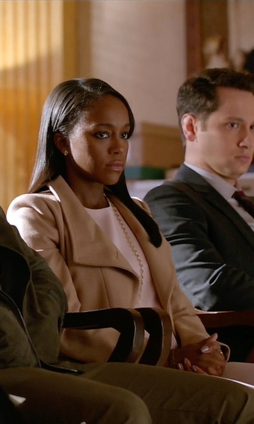 Aja Naomi King with Ted Baker Chessy Wrap Coat in How To Get Away With Murder