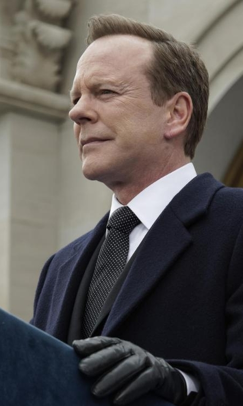 Kiefer Sutherland with Armani Collezioni Silk Tie in Designated Survivor