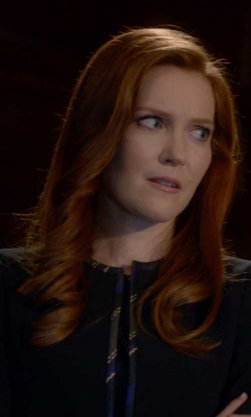 Darby Stanchfield with Hugo Boss Contrast-Trim Cropped Jacket in Scandal