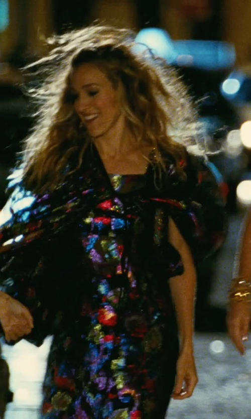 Sarah Jessica Parker with Yves Saint Laurent Vintage Metallic Dress with Cape in Sex and the City