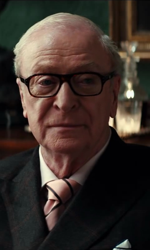 Michael Caine with Drake's Striped Woven-Silk Tie in Kingsman: The Secret Service