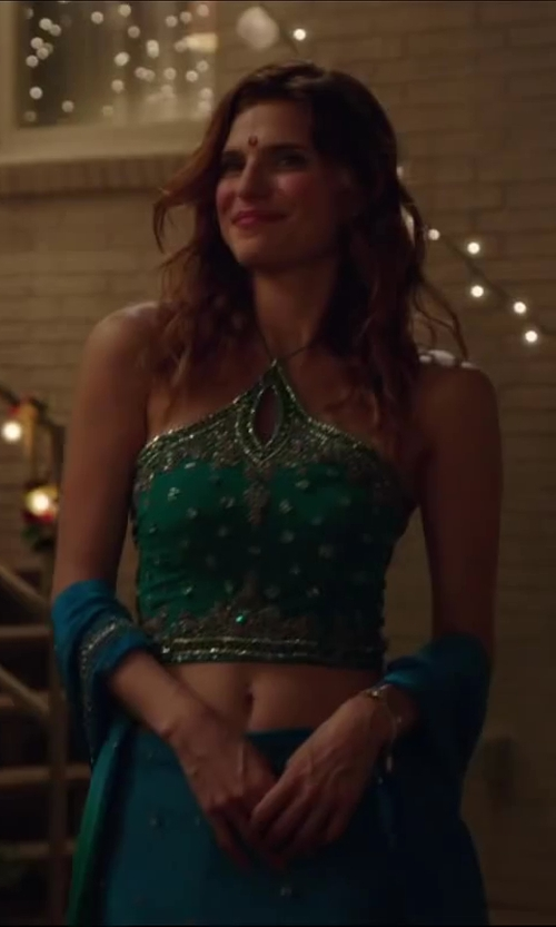 Lake Bell with UTSAV fashion Dynamic Blue Faux Georgette Lehenga Choli with Dupatta in Million Dollar Arm