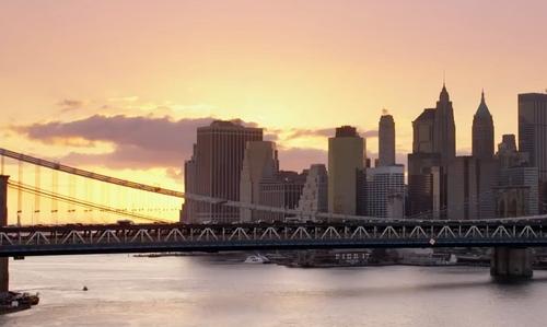 Unknown Actor with Manhattan Bridge New York City, New York in John Wick: Chapter 2