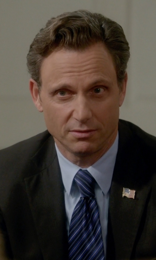 Tony Goldwyn with Eton Of Sweden Textured Striped Tie in Scandal