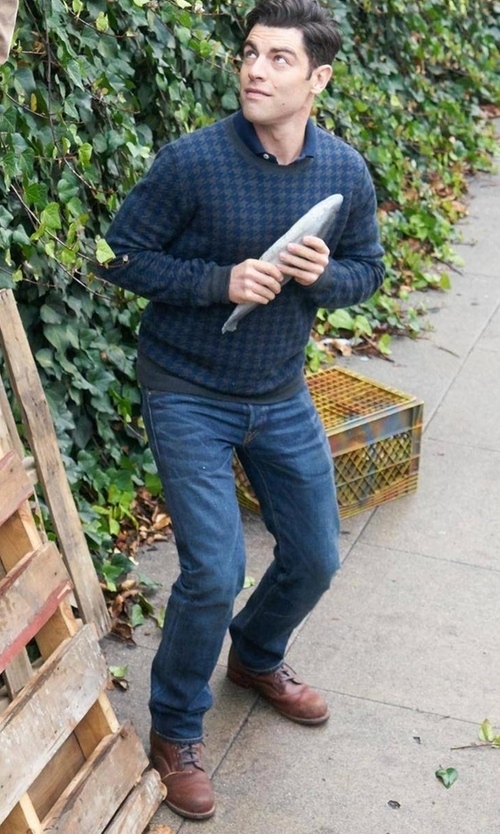 Max Greenfield with Cole Haan Wayne Combat Boots in New Girl