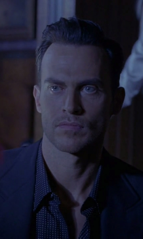 Cheyenne Jackson with Gitman Vintage Polka-Dot Cotton-Flannel Shirt in American Horror Story