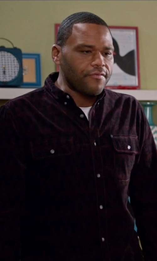 Anthony Anderson with French Connection 'Route' Trim Fit Long Sleeve Plaid Sport Shirt in Black-ish