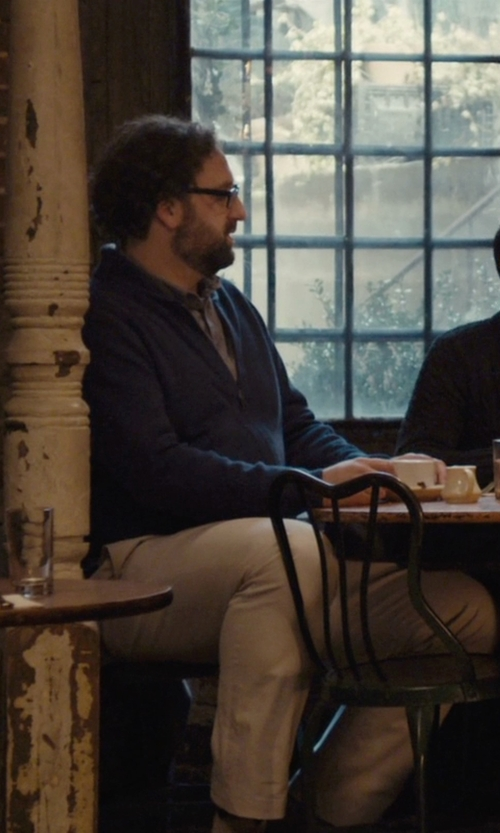 Eric Wareheim with Selected Homme Ribbed Zip Up Knitted Cardigan in Master of None