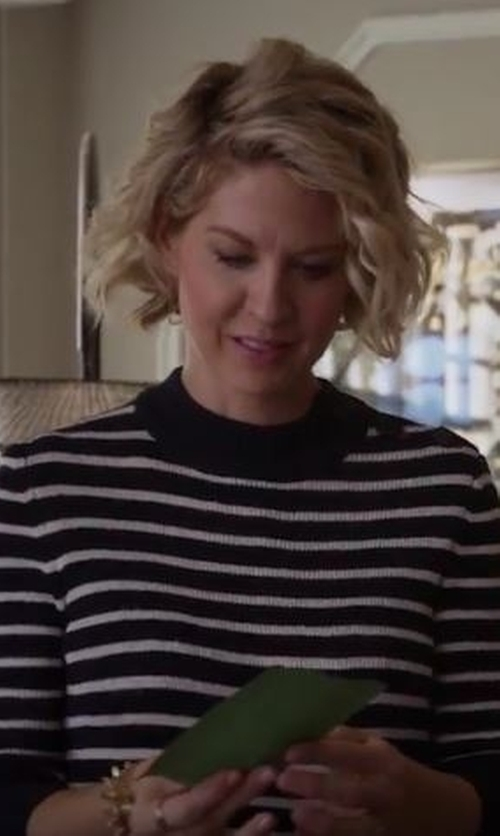 Jenna Elfman with Line Gwen Striped Cashmere Sweater in Imaginary Mary