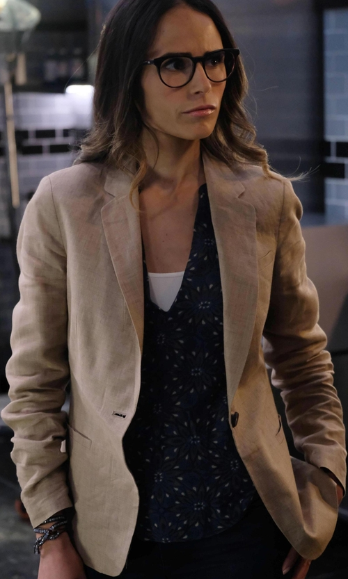 Jordana Brewster with Akris Punto Raw-Edge Wool Blazer in Lethal Weapon