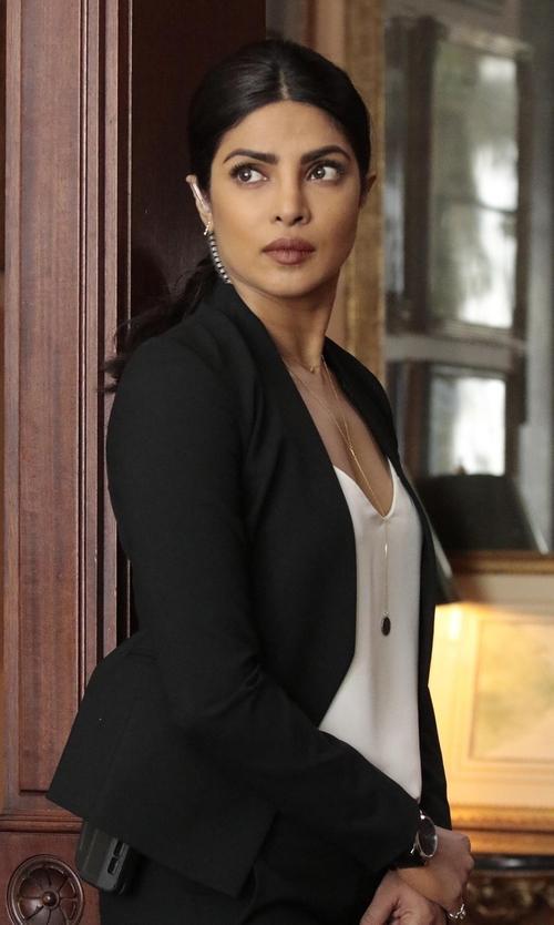 Priyanka Chopra with Blaque Label Sculpted Jacket in Quantico